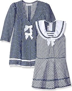 Girls' Check Jacquard Sailor Dress and Coat Set