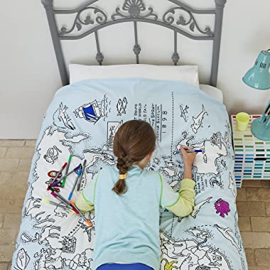 Doodle World Map Duvet Cover Color Your Own World Map Duvet Coloring Duvet with Washable Fabric Markers