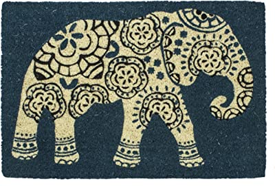Entryways Elephant Non Slip Coir Doormat, Teal, 40 x 60 x 1.5 cm