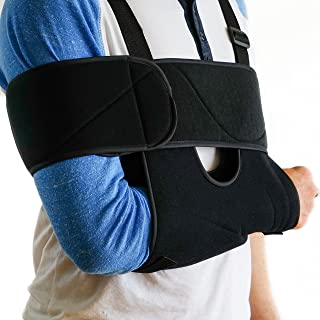 Medical Arm Sling Shoulder Brace | Best Fully Adjustable Rotator Cuff and Elbow Support | Includes Immobilizer Band for Qu...