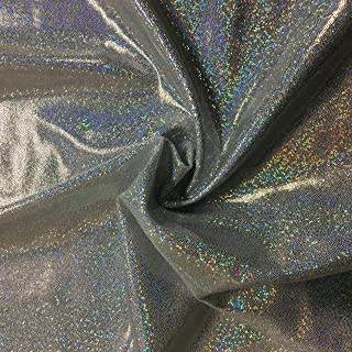 Pine Crest Fabrics Silver/White Sparkly Jewels Hologram Dancewear Knit Fabric by The Yard