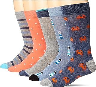 Amazon Essentials 5-Pack Patterned Dress Socks, Blue/Orange, Novelty, 7-11, Pack of 5