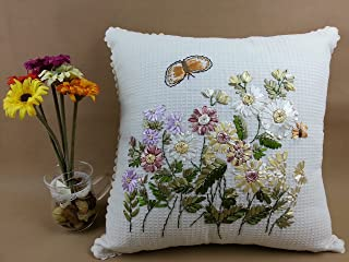 Handmade Floral Ribbon Embroidery Pillow Case Cushion Cover 100% Cotton Home Decor 17
