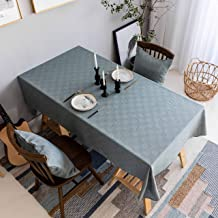 Home Brilliant Tablecloth Solid Farmhouse Checker Table Covers for Party Kitchen Indoor Outdoor Table Clothes for Dining Table, 52x72 inch, Grey Blue with Brown Thread