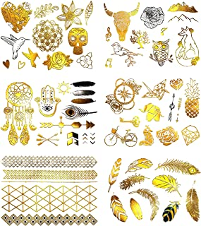Terra Tattoos 60 Metallic Gold Tattoos - Festival Temporary Tattoos