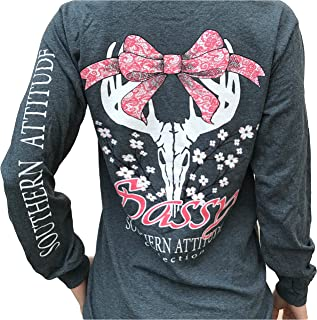 Southern Attitude Dogwood Sassy Deer Skull Bow Dark Heather Long Sleeve Shirt