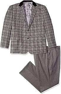 STACY ADAMS Men's 3-Piece Peak Lapel Plaid Vested Suit