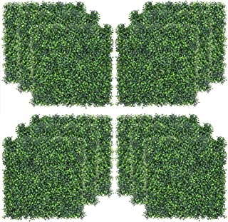 """Sunnyglade 12 Pieces 20""""x20"""" 32 Square Feet Artificial Boxwood Panels Topiary Hedge Plant, Privacy Hedge Screen UV Protect..."""