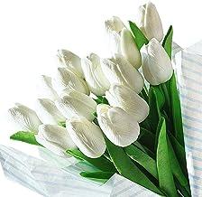 Veryhome Artificial Tulips Flores de látex con Toque Real para la decoración de la Fiesta de Bodas, Paquete de 20, Blanco