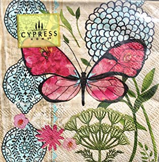 Cypress Home Hot Pink Butterfly Cocktail Beverage Paper Napkins, 40-ct