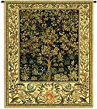 Tree of Life Midnight Blue by William Morris | Arts and Crafts Style Woven Tapestry Wall Art Hanging | Eternal Life Heaven Design in Indigo | 100% Cotton USA Size 74x53