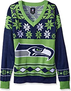 Seattle Seahawks Womens Big Logo V-Neck Sweater Medium