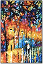 Zoinart 100% Hand Painted 3D Knife Oil Paintings 36x24 inch Contemporary Romantic Lovers in Rain Landscape Night View Artwork on Canvas Wall Art Wall Decorations Living Room Bedroom Wall Decor