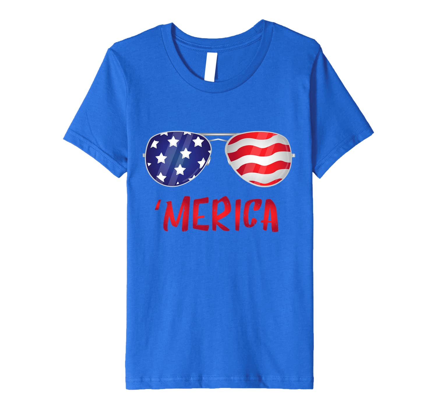 Merica USA Flag 4th of July Sunglasses Outfit Women Men Gift Premium T-Shirt Unisex Tshirt