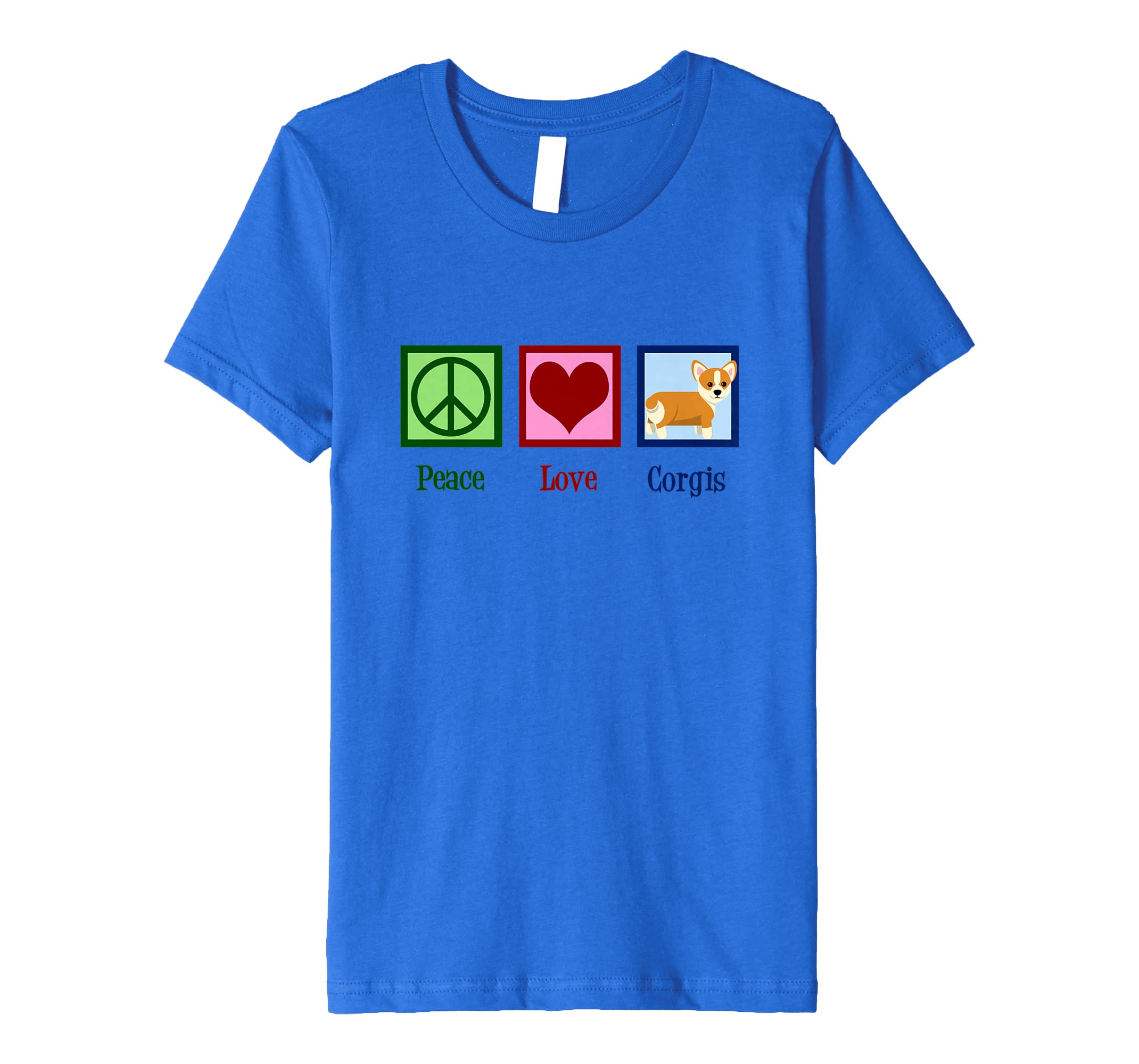 6d73fd9a9b14 Amazon.com  Cute Corgi T-Shirt - Peace Love Corgis Tee  Clothing