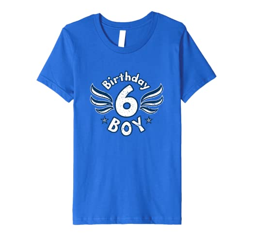 Kids 6 Years Old Boy Birthday T Shirt Number Wings And Stars