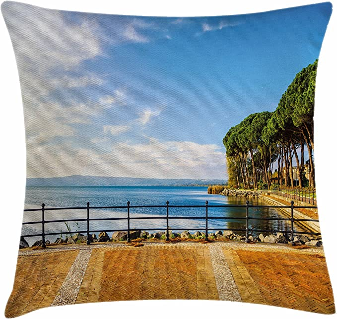 Decorative Square Accent Pillow Case 20 X 20 Ambesonne Italy Throw Pillow Cushion Cover Yellow Green Portofino Landmark Aerial Panoramic View Village and Yacht Little Bay Harbor