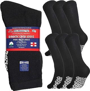 Special Essentials 6 Pairs Men's Cotton Non Slip Diabetic Crew Socks Black 13-15