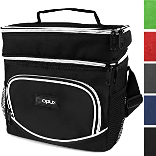 OPUX Insulated Dual Compartment Lunch Bag, Double Deck Lunch Box for Men, Women, Kids | Soft Leakproof Lunch Tote Cooler for Work, Office, School | Medium Reusable Lunch Pail, Fits 8 Cans (Black)