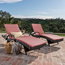 Christopher Knight Home Salem Outdoor Wicker Chaise Lounge Chair With Arms With Cushion (Set Of 2), Brown With Red