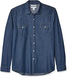 Amazon Essentials - Camisa tejana de manga larga y corte recto para hombre