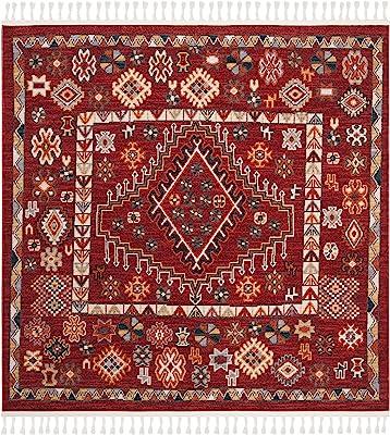 "Safavieh Farmhouse Collection FMH814Q Moroccan Boho Tassel Area Rug, 6'3"" x 6'3"" Square, Red / Ivory"