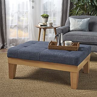 Christopher Knight Home 302138 Gerstad Ottoman Coffee Table | Mid Century, Danish, Modern Styling | Upholstered in Dark Blue Fabric