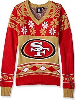 NFL Women's V-Neck Sweater, San Francisco 49ers, X-Large