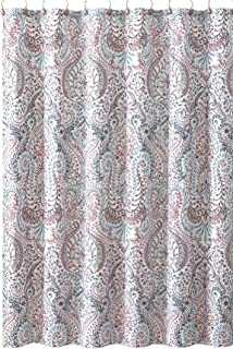 Floral Paisley Turquoise Pink Grey Fabric Shower Curtain: Vintage Small Print Design on Distressed Style Background, 72