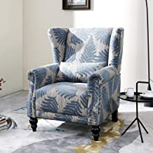 LOKATSE HOME Fabric Arm Chair Mid-Century Modern Upholstered Single Sofa for Living Room, Blue/Beige Pattern
