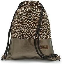By Bers LEON Turnbeutel mit Innentaschen Rucksack Tasche Damen Herren & Teenager Gym bag Gym sack Leopard_Kupfer