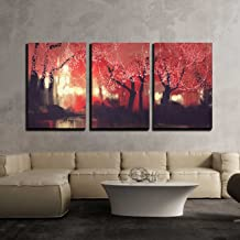 wall26 - 3 Piece Canvas Wall Art - Night Scene of Autumn Forest,Fantasy Landscape Painting - Modern Home Decor Stretched and Framed Ready to Hang - 16