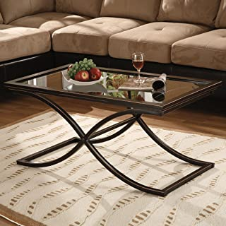 Vogue Cocktail Coffee Table - Tempered Glass Top - Black w/ Copper Distressed Finish