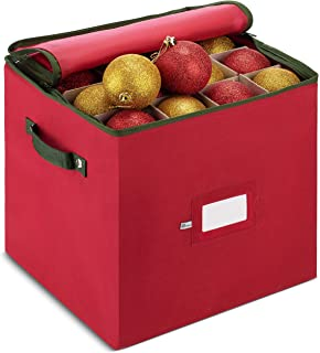 Best ZOBER Christmas Ornament Storage Box with Zippered Closure - Protect & Keeps Safe Up to 64 Holiday Ornaments & Xmas Decorations Accessories, Durable Non-Woven Ornament Storage Container, Two Handles Review