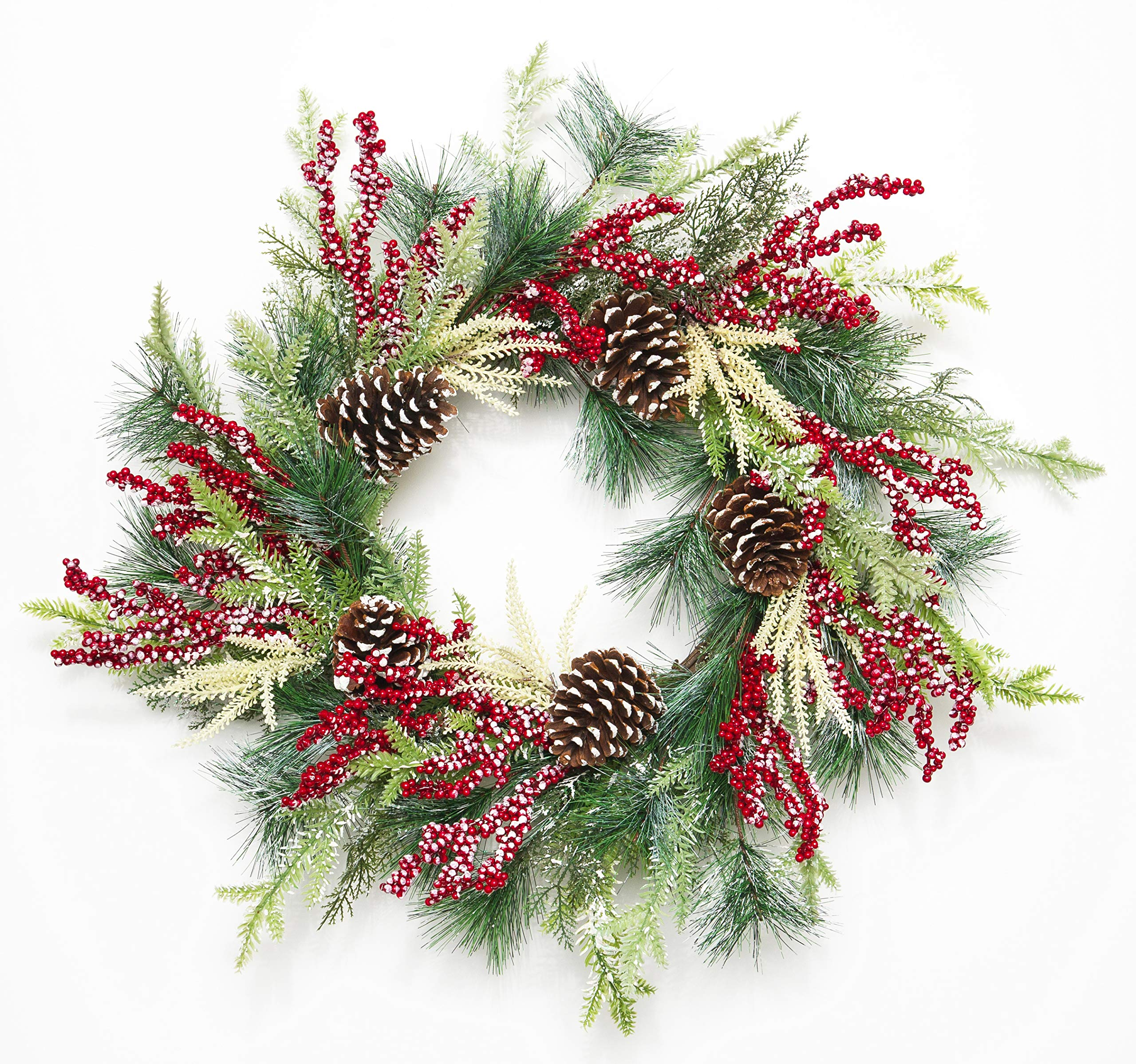 Pinecones Eucalyptus Leaves Holiday Front Door Wreath Simple Christmas Wreath Winter Wreath with Green Pine Needles and White Accents