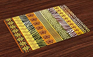 Lunarable Tribal Place Mats Set of 4, Abstract Style Theme Vertical Borders Illustration, Washable Fabric Placemats for Dining Table, Standard Size, Green Mustard