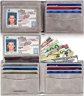 SERMAN BRANDS 2 ID Window Wallet for Men RFID Blocking Leather, Bifold Top Flip, Extra Capacity Travel Wallet