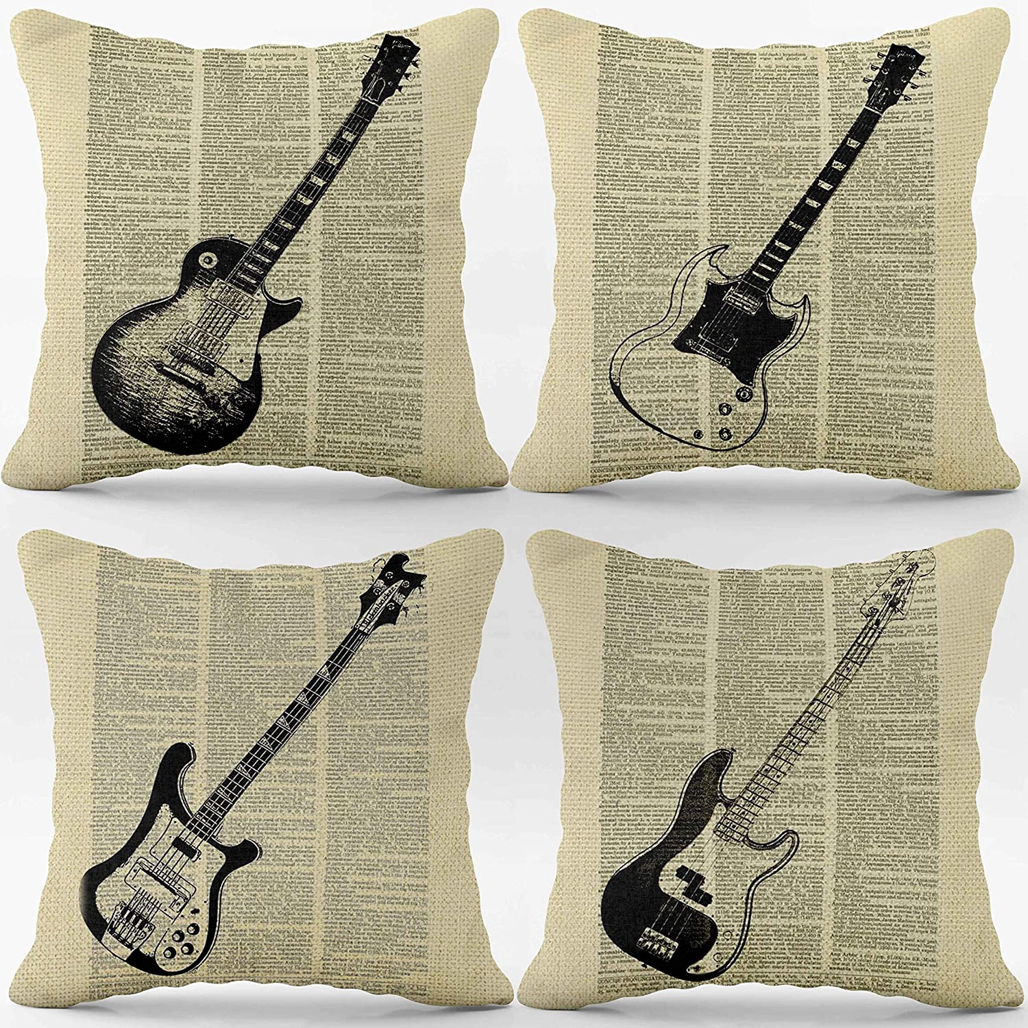 GibsonGuitarVintageLinen Throw Pillow Case, 18 x 18 Inch Set of 4, Music Theme Room Decor, Guitar Lover Gifts, Gifts for Husband, Dad, Grandpa, Boyfriend, Brother, Cushion Cover for Sofa Couch Bed