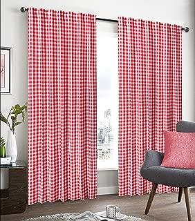 GLAMBURG 2 Pack 100% Cotton Window Curtain Panel 50