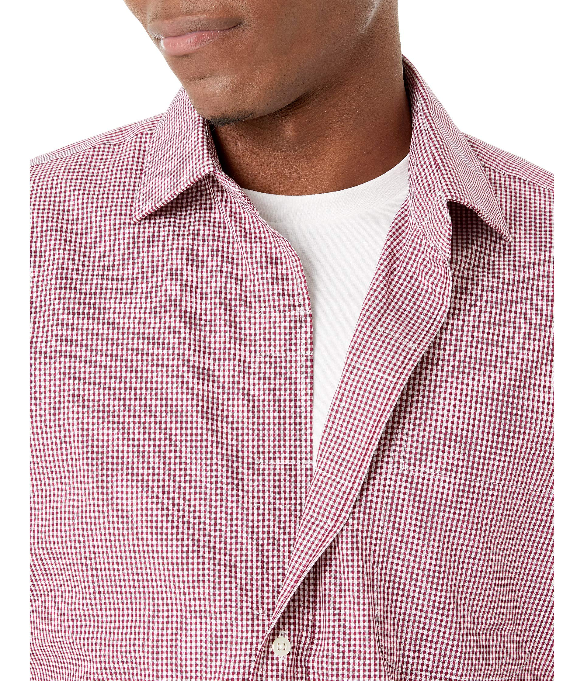 Shirt Long Ready Spread Dress Small Sleeve Wine Magna Check Collar YqwvY