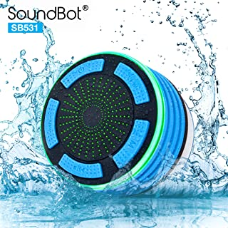SoundBot IPX7 Waterproof 5W Bluetooth Wireless Shower Speaker with 8Hrs Playback, Built-In FM Radio Tuner, LED, Premium HD Sound, Water Weather Resistant Portable Speakerphone, SB531 (BLUE)