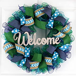 Mother's Day Gift Ideas | Everyday Wreath | Mesh Door Wreath | Navy Blue Kelly Green Turquoise P3