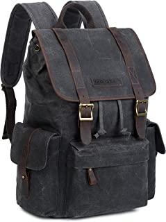 Waxed Canvas and Leather Vintage Backpack College Schlool Casual Unisex Rucksack Camping Daypack Laptop Bag By 1XD GEAR