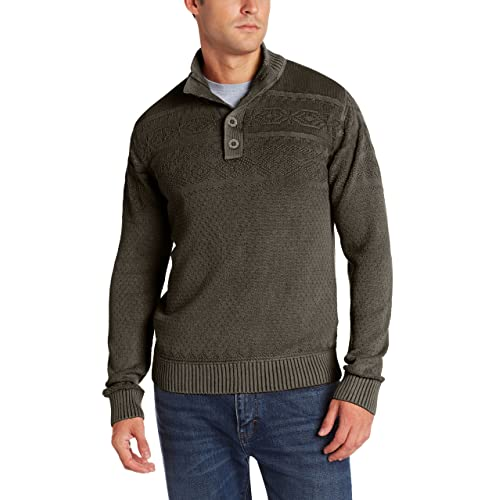 32580db8a7e148 Alex Stevens Men's Textured Fair Isle Mock-Neck Sweater