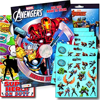 Marvel Avengers Coloring Book Bundle with Avengers Stickers Plus Superhero Door Hanger ~ Captain America, Black Panther, Thor, The Hulk, Iron Man, and More!