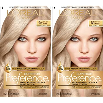L'Oreal Paris Superior Preference Fade-Defying + Shine Permanent Hair Color, Light Ash Blonde, Pack of 2, Hair Dye
