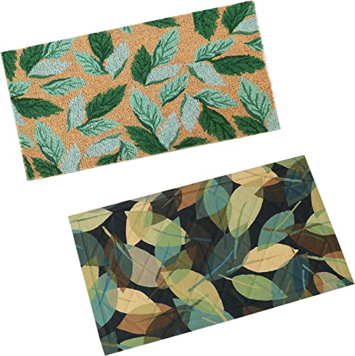 """wholesale Sunnydaze Green Leaves 17"""" L x 29"""" W PVC and Coir Indoor/Outdoor Heavy-Duty Doormat and Leafy Greens sale 17"""" L online sale x 29"""" W Indoor Rubber and Polyester Kitchen Floor Mat Bundle online"""