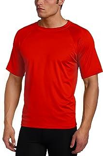 Kanu Surf Men's Solid Rashguard UPF 50+ Swim Shirt, Red, X-Large