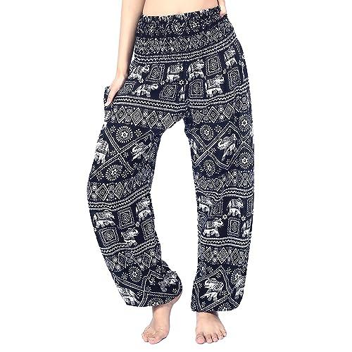 428382f6e214 Boho Vib Women s Rayon Print Smocked Waist Boho Harem Yoga Pants