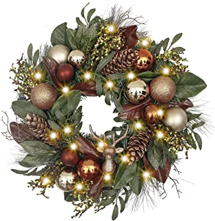 Valery Madelyn Pre-Lit 24 Inch Woodland Christmas Wreath for Front Door with Glittery Shatterproof Ball Ornaments and Pine Cone, Battery Operated 20 LED Lights